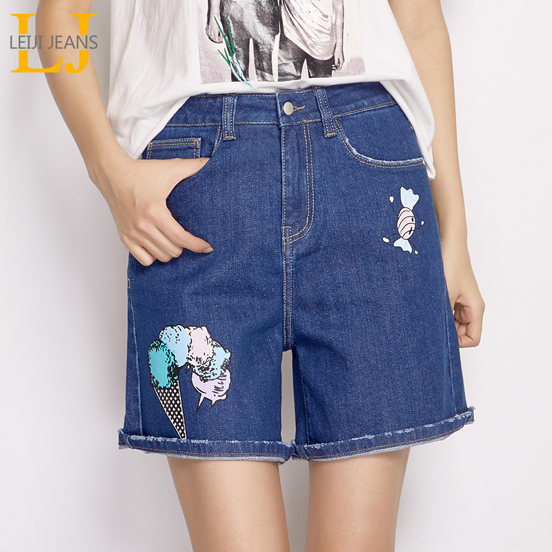 LEIJIJEANS 2018 New Arrival Summer Plus Size L-6XL Sweet Candy Printing Mid Waist Knee Length Dark Blue Loose Denim Women Shorts