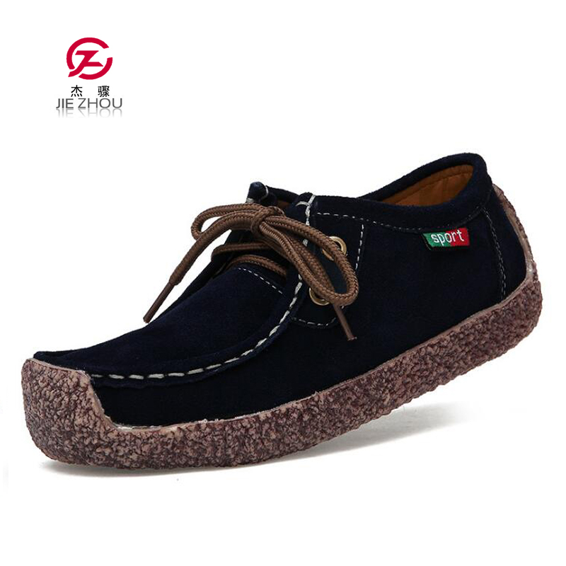 2019 Spring Women Genuine   Leather   Shoes Woman Hand-Sewn   Suede     Leather   Flats Solid Color Lace-Up Boat Shoes Women Loafers