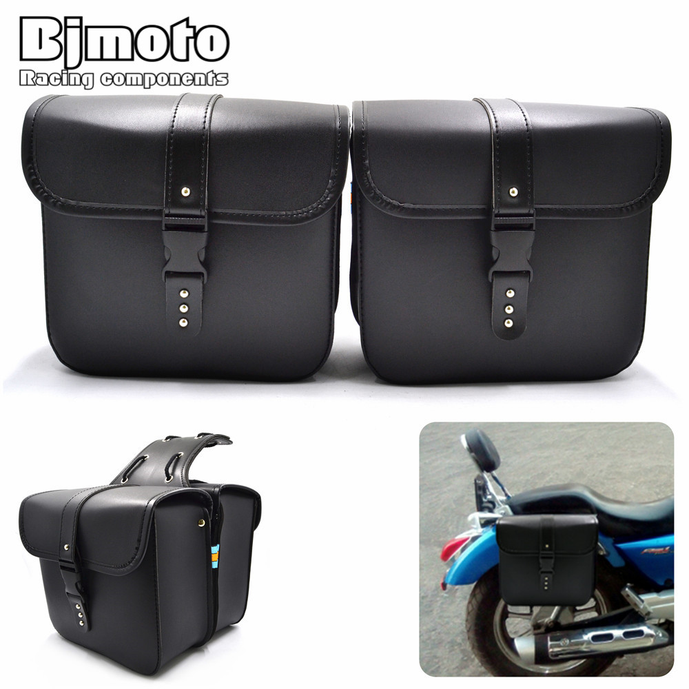 Bjmoto For Harley Motorcycle Saddle bags Cruiser moto bike Side Storage Tool Pouches side Saddlebag Luggage Bag Tool side bag motorcycle capacity luagge side bag leather saddle bag dual sport bike chopper