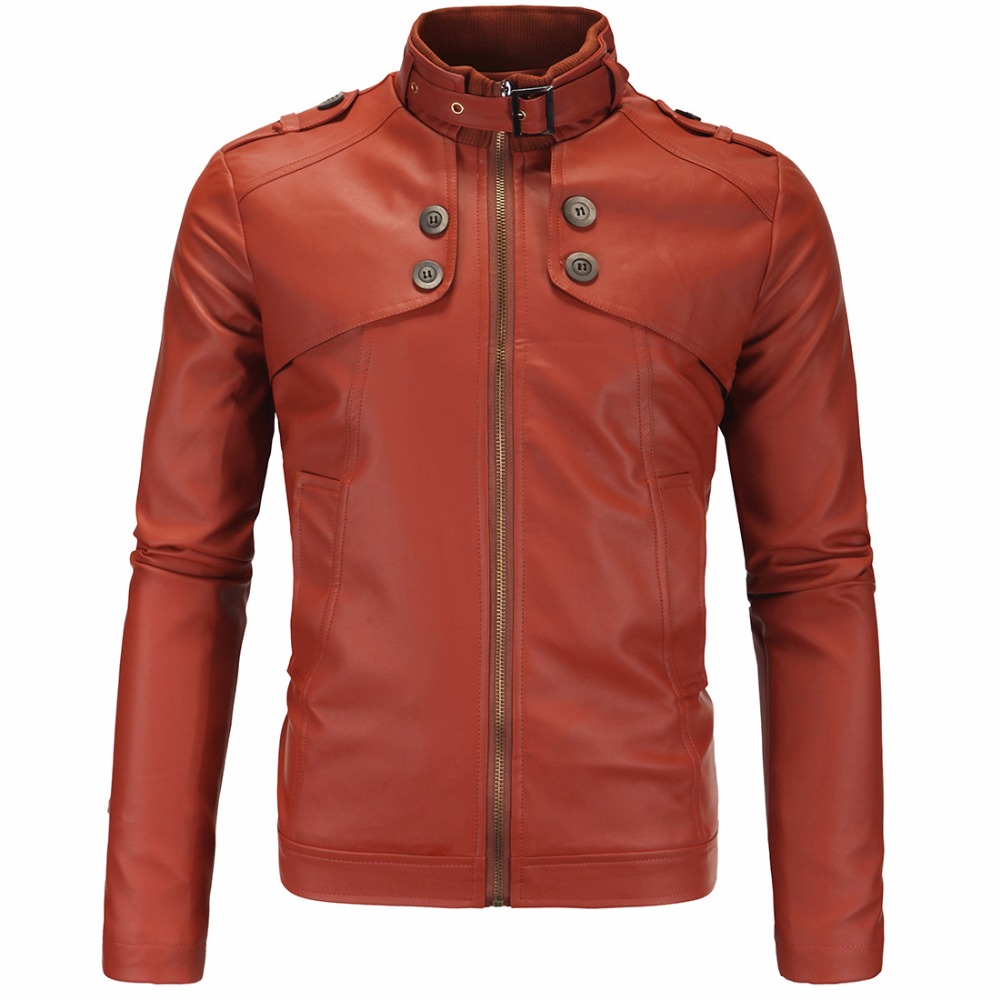 Mens PU Leather Jackets Fashion Autumn Winter Slim Fit Faux Leather Jacket Coat Male Red Windbreaker Motorcycle Bomber Jackets