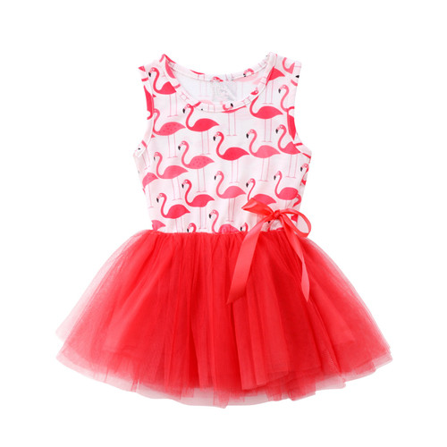 AmzBarley Cartoon Flamingo dress Toddler girls Princess Sleeveless Bow Lace Tutu Outfit Summer Party Ball Gown