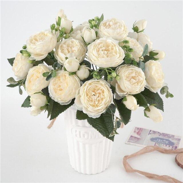 5 cabezas grandes/ramo de peonías artificiales, ramo de peonías de seda, 4 flores de brotes, decoración del hogar de boda, flor de peonía Rosa falsa