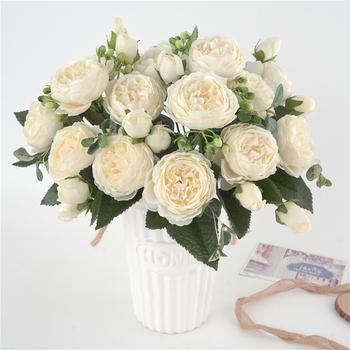 5 duża głowa bukiet piwonie sztuczne kwiaty jedwabny bukiet piwonie 4 Bud kwiaty ślub dekoracja domu sztuczna piwonia kwiat róży tanie i dobre opinie Bukiet kwiatów Róża Włókniny tkaniny Ślub