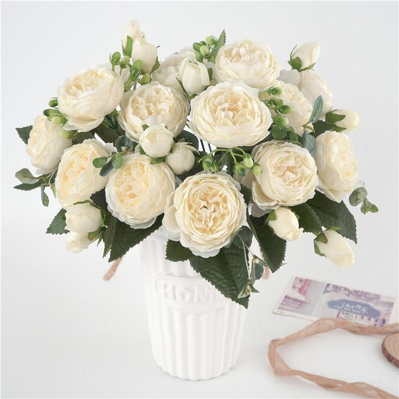 5 grote Hoofden/Boeket Pioenen Kunstbloemen Zijde Pioenen Boeket 4 Bud Bloemen Wedding Home Decoration Fake Peony Rose bloem