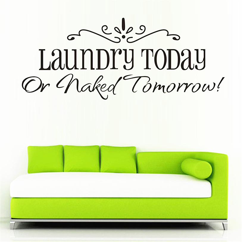 Wall Sticker Quotes 58x25CM Laundry Fashion Artistic Peel and Stick Wall Stickers Decals Letter Pattern Wall Sticker D14