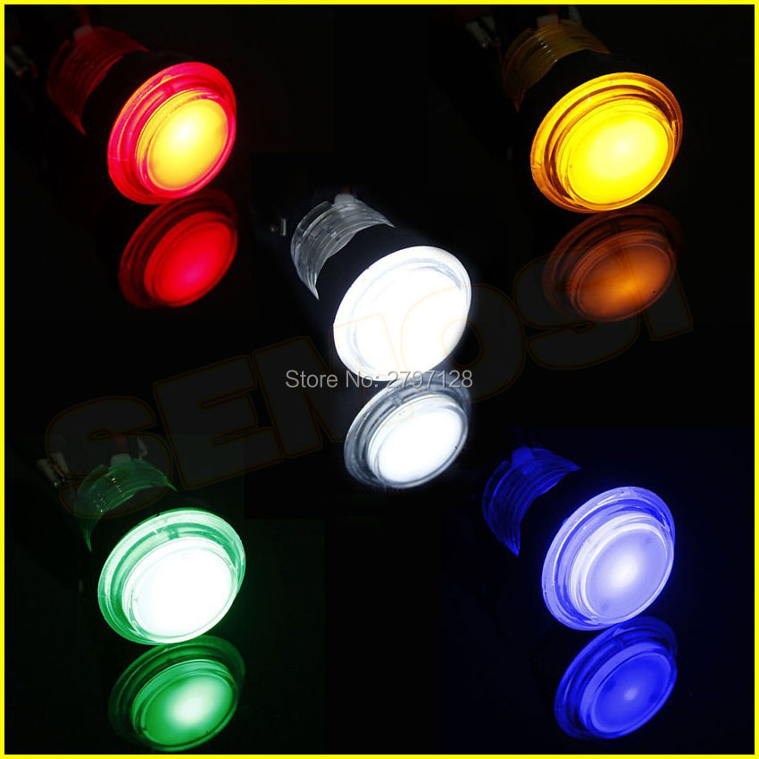 50 pcs LED Arcade Button Kit Transparent Illuminated Push Buttons with Microswitch for Arcade Games Parts