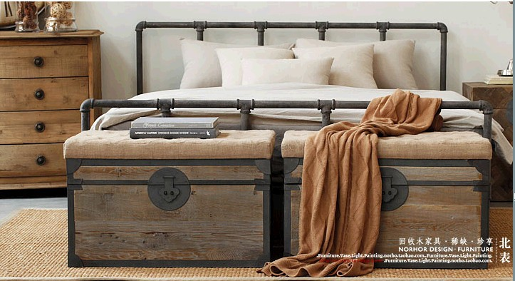 Bett Industrial country loft retro industrial style wrought iron bed