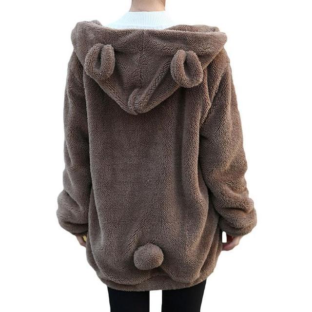 Hot Sale Mulheres Hoodies Zíper Inverno Da Menina Fofo Solto Capuz Ouvido Urso Jaqueta Com Capuz Quente Casaco Outerwear camisola bonito