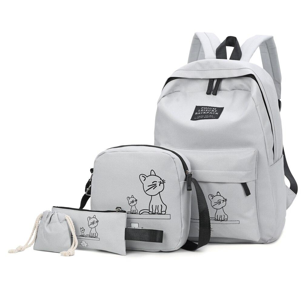 48da70de1 4 unids/set la escuela mochila bolsas para los estudiantes mochila casuales  de las mujeres mochila de Nylon portátil de moda estudiante mochilas