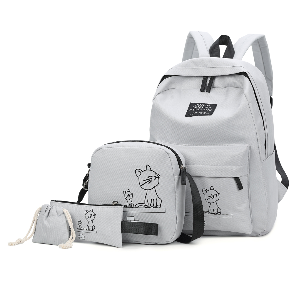 4PCs/Set School Backpack Book Bags for Students Backpack Women Casual Rucksack Daypack Nylon Laptop Fashion Student Backpacks