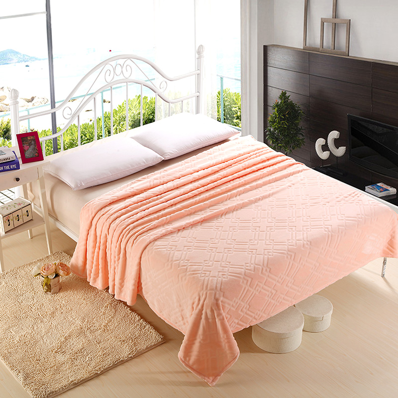 Spring / Summer Comfortable Soft Plush Fleece Blanket for Bed Sofa Couch Throw Solid Color Peach Pink Bed Sheet Twin Full Queen-in Blankets from Home ...