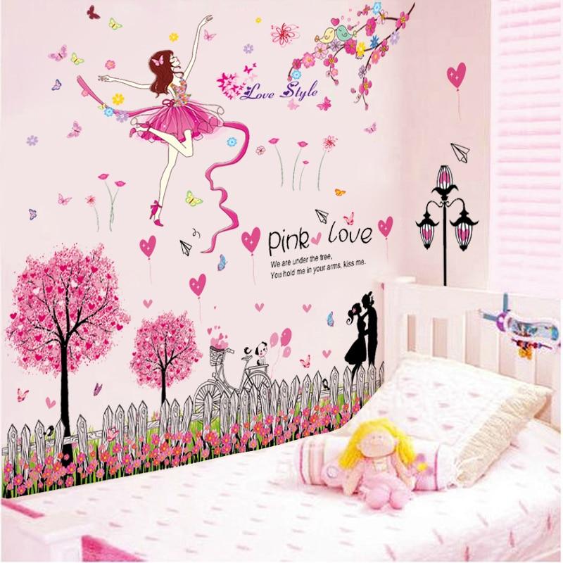 [SHIJUEHEZI] Dessin Animé Fille Danseur Stickers Muraux Bricolage Rose Arbres  Stickers Muraux Pour Enfants Chambres Bébé Chambre Décoration Muursticker