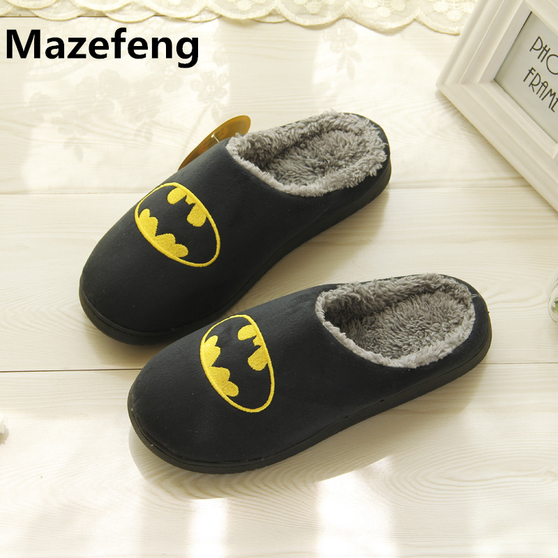 Winter Fashion Couples Cotton Slippers Men Women Superhero Indoor Warm Home Slippers Size 37-44 Chinelo Masculino xiaokaixin winter home couples slippers large size women