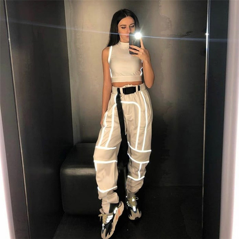 Fashion Streetwear Flash Reflective Joggers Women High Waist Pants with Buckle Belt Ladies Reflective Trousers Casual Pants
