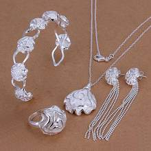 Brazilian style Factory price High quality Silver Plated & Stamp 925 Charm Set Silver Rose Flower Necklace Bracelet Bangle Ring(China)