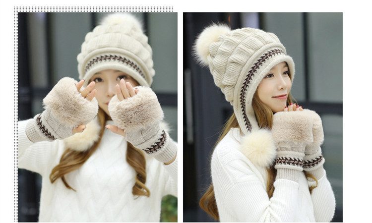 New Autumn And Winter Korean Version Of The Warm Women Hat Gloves Set Knitted Hair Ball Two Sets Of Ladies Thickening HC37 (11)