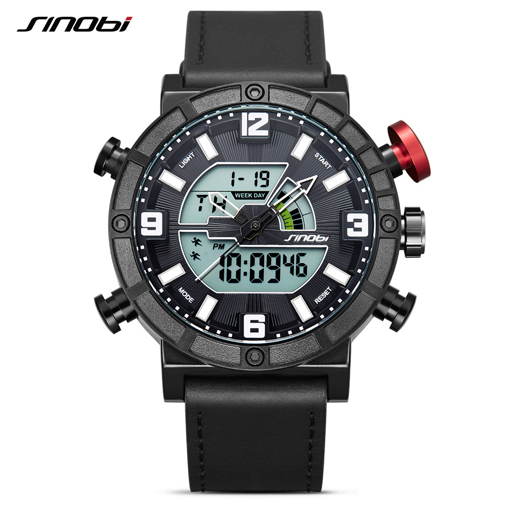 SINOBI Top Brand Men Sport Watches LED Display Watch Men Leather Digital Quartz Clock Creative Backlight Relogio Masculino 2017 sinobi men s top luxury brand sport watches men led digital waterproof stainess steel quartz watch man clock relogio masculino
