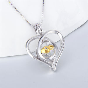 Image 4 - CLUCI 3pcs Silver 925 Pendant Locket for Women Necklace Jewelry 925 Sterling Silver Heart Zircon Pearl Cage Pendant SC362SB