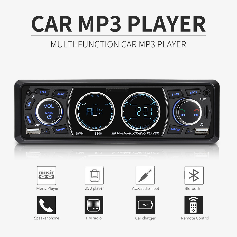 Universal 4 inch 1 Din Car Radios Auto MP3 Stereo Music Player Autoradio Bluetooth Handsfree Call Dual USB TF AUX FM Radio ab k2 stylish 4 in 1 bluetooth v3 0 stereo speaker w handsfree call tf fm aux black