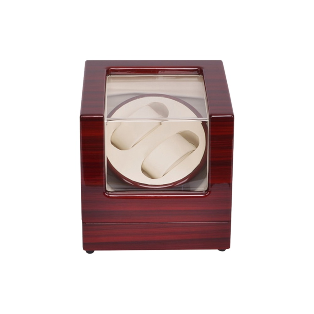 Watch Winder ,LT Wooden Automatic Rotation 2+0 Watch Winder Storage Case Display Box (Outside is rose red and inside is white) 2016 latest luxury 5 modes german motor watch winder yellow spray paint wooden white pu leater inside automatic watch winder