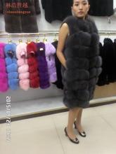 90CM long real  natural  fox fur vest  blue green black and gray  real fur fox fur coat women  natural fur coats