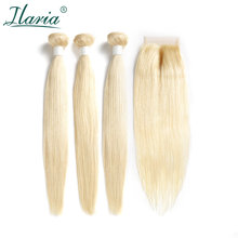 BRAID ILARIA HAIR Brazilian 613 Color Blonde Hair Bundles With Closure Straight Human Hair Weft Colored Bundles With Closure(China)