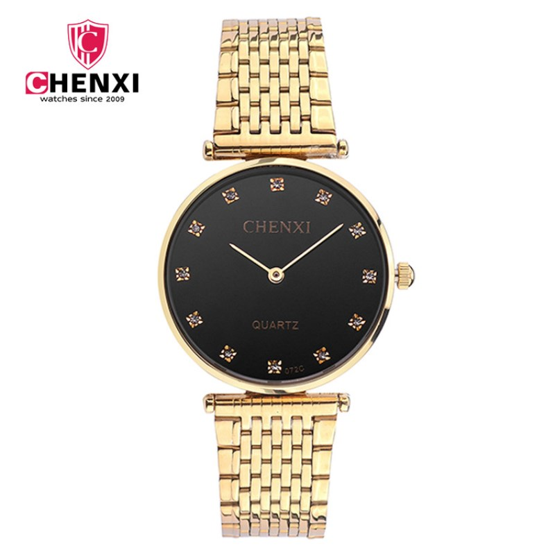 CHENXI Men Watch Black Dial Full Gold Stainless Steel Case Quality Relogio Masculino With Rhinestone Dial Male Watch PENGNATATE relojes full stainless steel men s sprot watch black and white face vx42 movement
