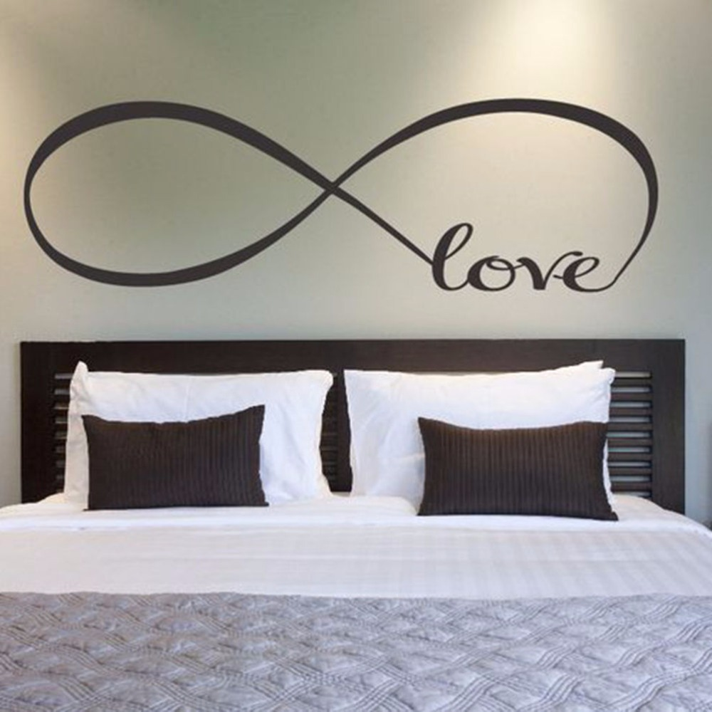 1PC Bedroom Wall Stickers Decor Infinity Symbol Word Love Vinyl Art Wall  Sticker Decals Decoration 22*60CM In Wall Stickers From Home U0026 Garden On ...