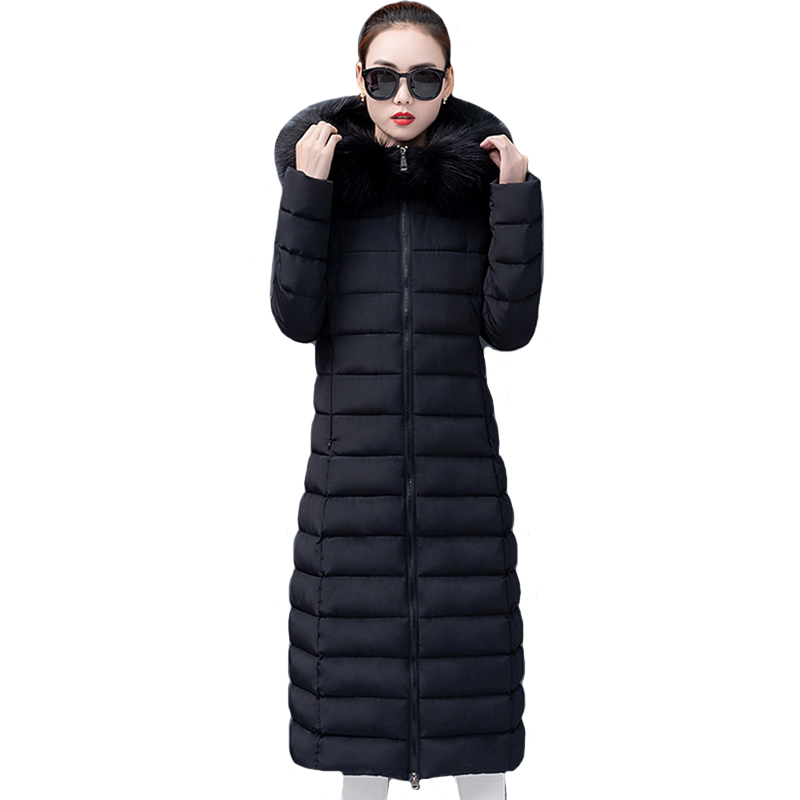 2019 High Quality Women Winter Jacket Hooded With Fur Collar Long Female Coat Warm Thicken Ladies   Parka