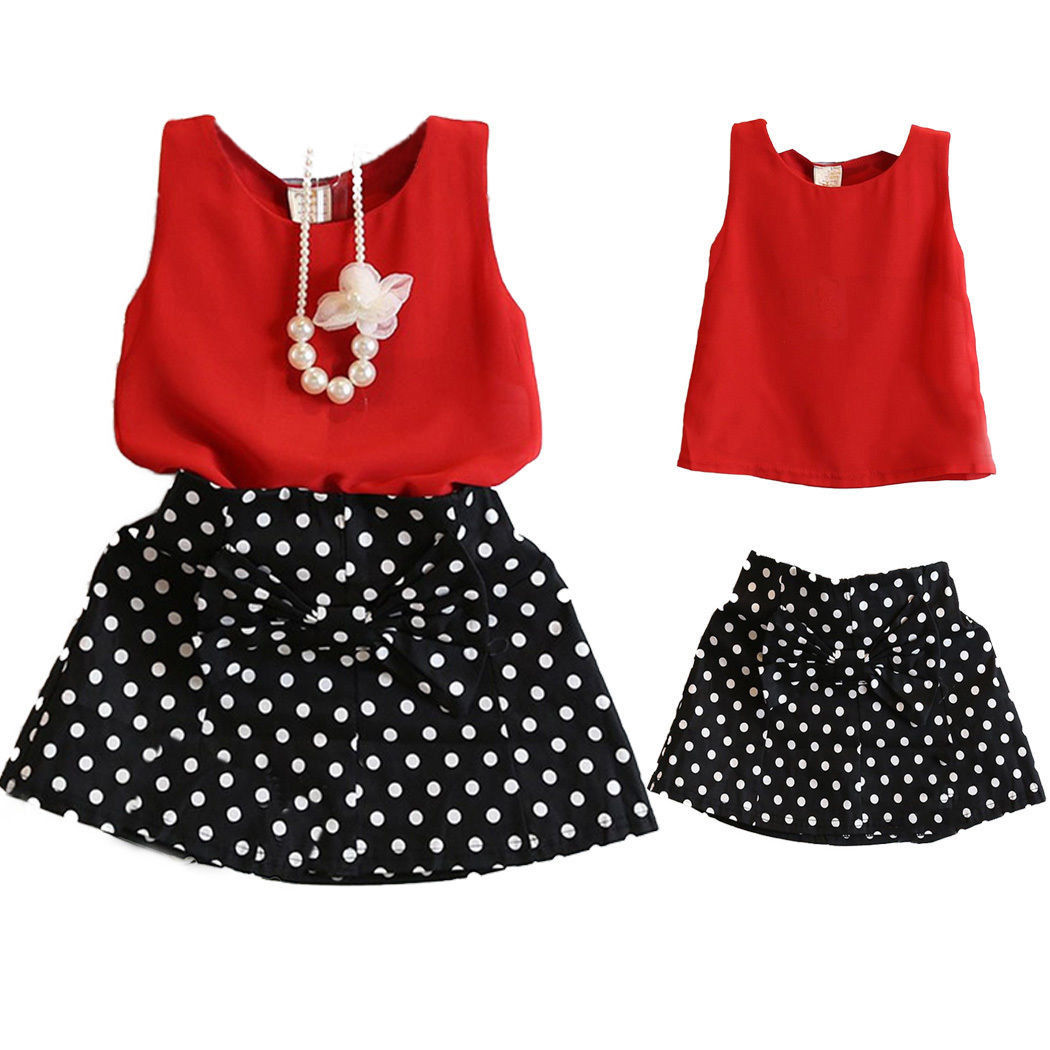 Two-pieces Chiffon Tops Bow Polka Dot Skirt Clothes Girls Baby Kids Outfit TOU