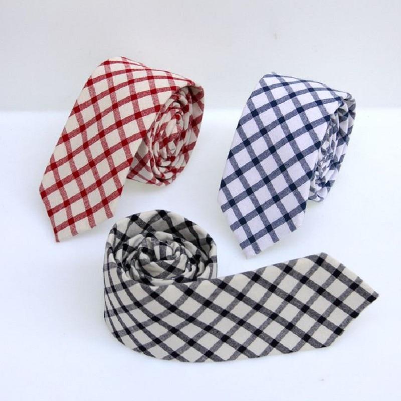 6cm tie for men skinny plaid mens necktie cotton ties man check tie ascot neckwear business suit shirt accessories for men