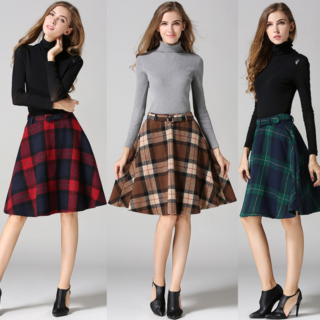3be852d1de5045 TingYiLi Vintage England Style Green Khaki Red Plaid Skirts Womens High  Waist A Line Wool Midi Skirt Elegant Ladies Winter Skirt