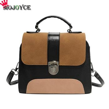 Casual Women PU Leather Sling Handbag Girls Crossbody Bag Patchwork Color Messenger Shoulder Bag Female Handbag