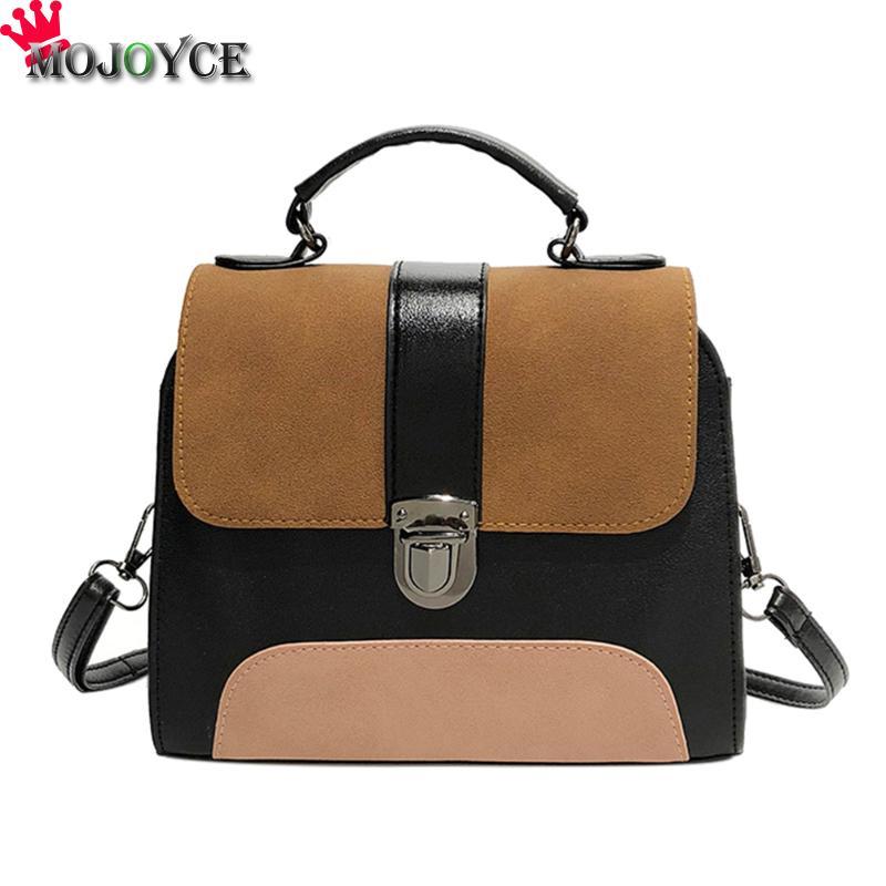 2018 MOJOYCE Casual Women PU Leather Sling Handbag Girls Crossbody Bag Patchwork Color Messenger Shoulder Bag Female Handbag