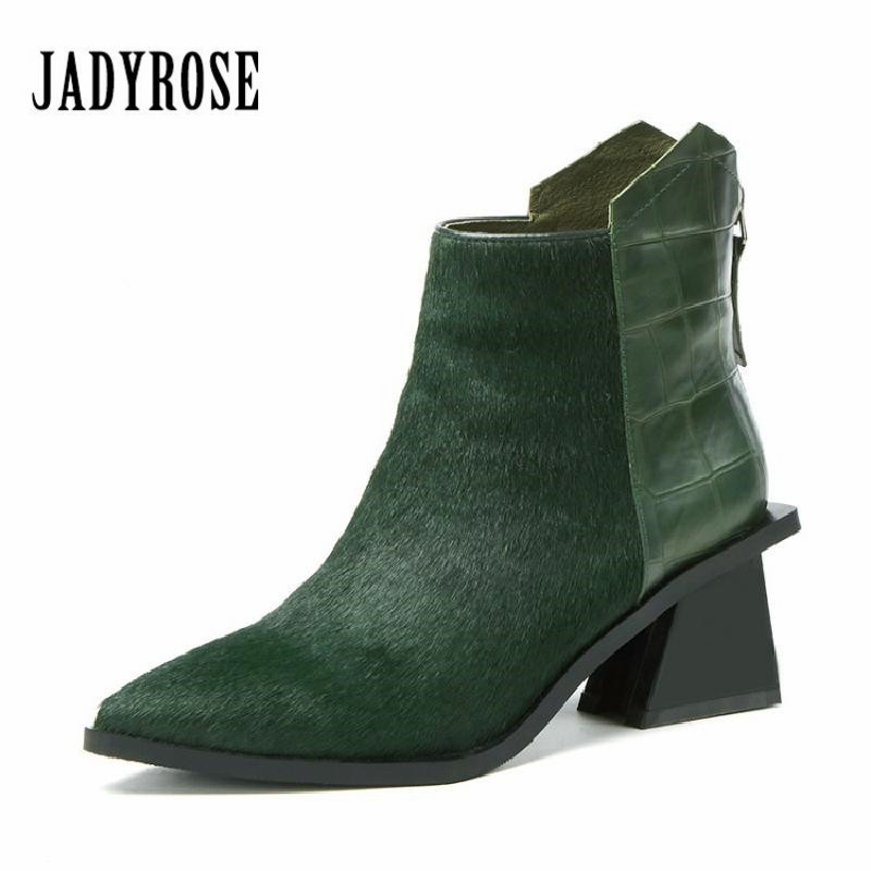 Jady Rose Green Women Ankle Boots Horsehair Strange Heel Pointed Toe Botas Mujer Women Back Zip Short Rubber Boots Martin Boot 2017 fashion new red horsehair women ankle boots square high heel short booties autumn zip up martin botines mujer women pumps