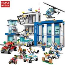 цена на 890Pcs City Police Station Building Blocks Sets 60047 Model Policeman Car Educational Toys For Children