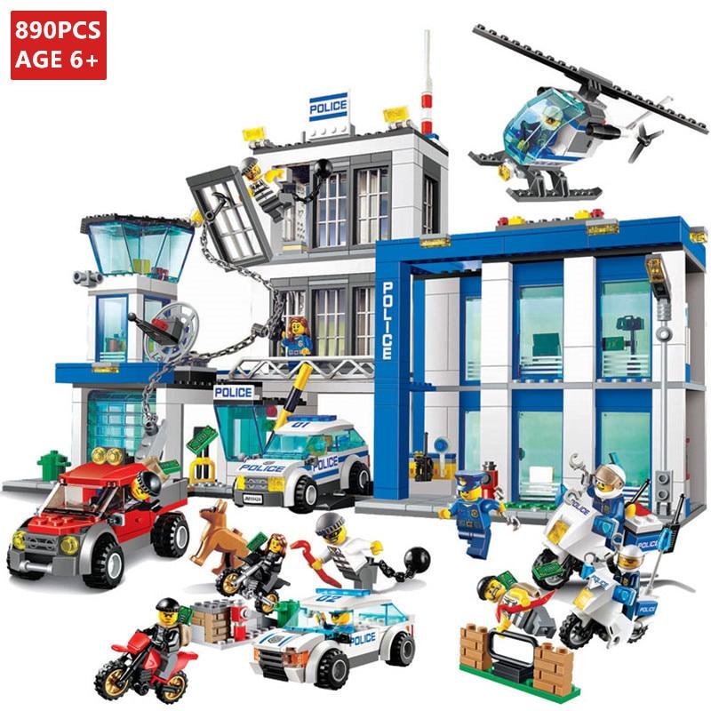 407pcs Fit Lego blocks city Figure Swat Cop Helicopter Model building toys