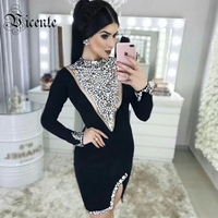Vicente HOT Fashion Beads Design Mini Black Dress Long Sleeves Sexy Mesh Splicing Wholesale Celebrity Party Bandage Dress