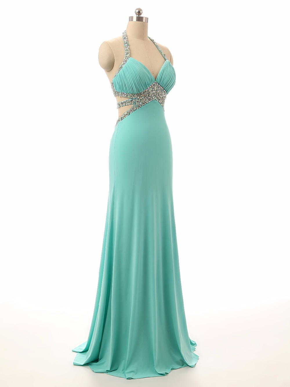 New Long Prom Dresses 2017 Halter Neck A Line Floor Length Beaded ...