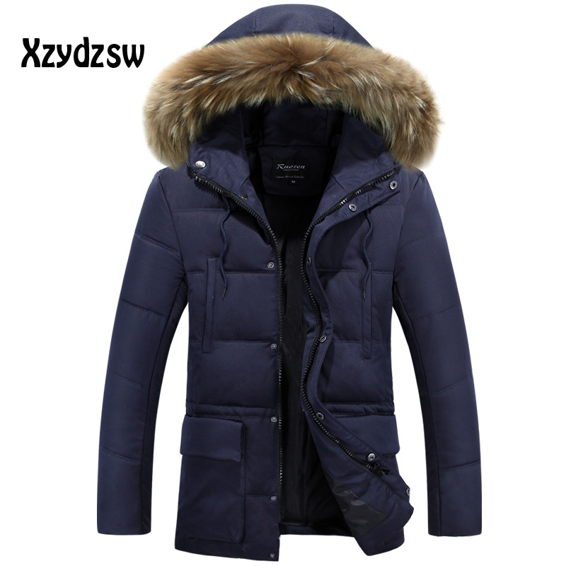 Brand Winter Jacket Men 2016 New White Duck Down Parka Fur Collar Winter Jacket Suitable For The Cold Winter Wear Down Coat