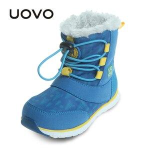 Image 1 - UOVO 2019 Snowboots Kinderen Winter Laarzen Jongens Waterdichte Schoenen Mode Warm Baby Laarzen Voor Jongens Peuter Schoenen Maat 23 # 30 #
