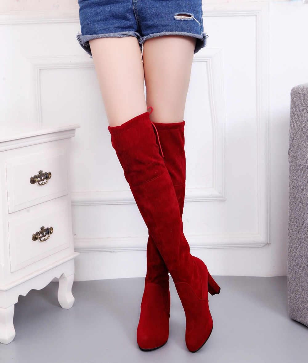 Kadın çizme Faux Süet Kadın Diz Botları Lace Up Seksi Yüksek Topuklu Ayakkabılar Kadın Kadın Ince Uyluk Yüksek çizmeler Botas 34-43