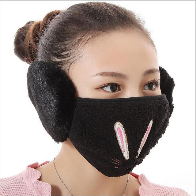 Cartoon rabbit design Ear protective mouth mask Windproof earmuff anti dust winter masks girls Anti Haze Flu cotton Face masks 1