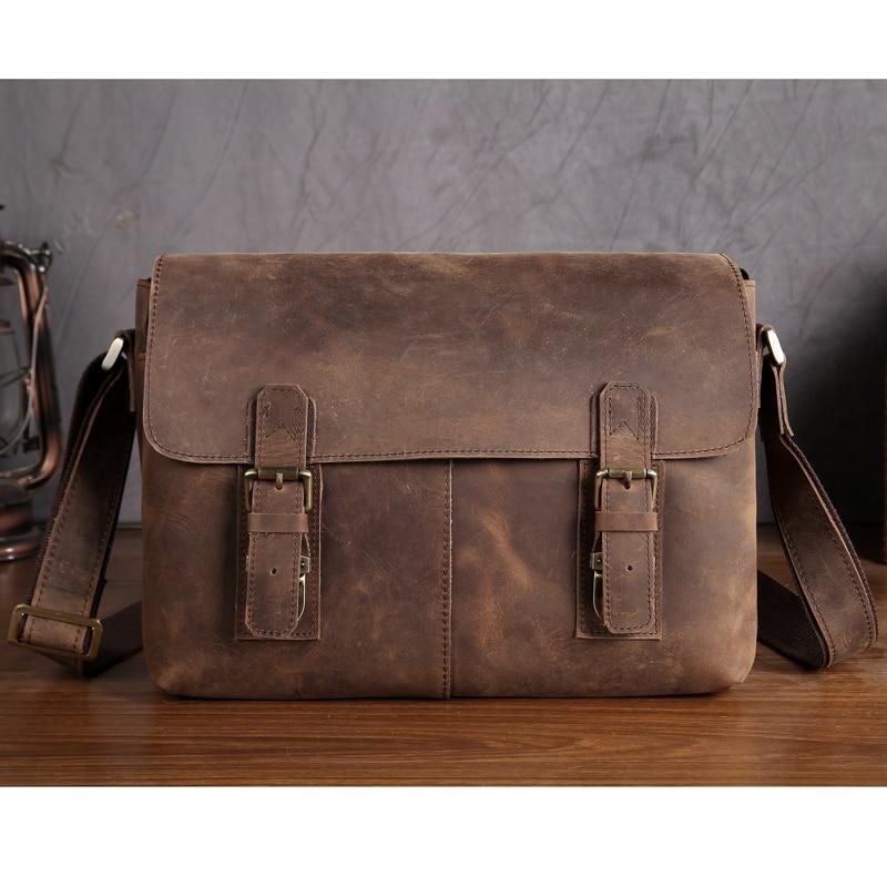 YISHEN Vintage Men Messenger Bag Genuine Leather Men Shoulder Bags Retro Trend Small Flap Bag Male