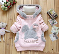 2016 Retail Children Clothing Cartoon Rabbit Fleece Outerwear girl fashion clothes/hooded jacket/Winter Coat roupa infantil m155