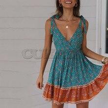 Cuerly boho beach floral print dress women 2019 summer v neck bow sundress female vestidos mini dress skater dress L5