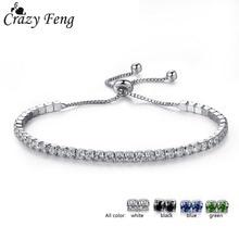 Crazy Feng 2017 Charms Austrian Crystal Bead Bracelet Bangle for Women Friendship Silver Color Ball Pendant Adjustable Bracelet