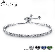 Crazy Feng 2018 Charms Austrian Crystal Beads Bracelet Bangle for Women Friendship Silver Color Ball Pendant Adjustable Bracelet(China)