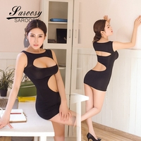 2017 New Sexy Lingerie For Women Hollow Out Sheer Mini Dress Bodysuit See Through Open Bust