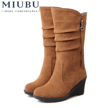 MIUBU Big Size 34-43 High Quality Women Shoes Hot New Arrivals Mid Calf Wedges Boots PU Leather Autumn Spring Woman